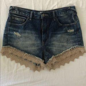 Free People Lace Crochet Trim Denim Shorts